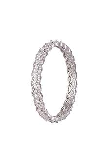 White Finish Faux Diamond Bangles by Aster