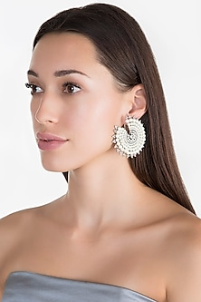 White Finish Pearl & Faux Diamond Earrings by Aster