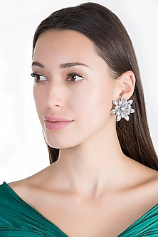 White Finish Faux Diamond Floral Earrings by Aster