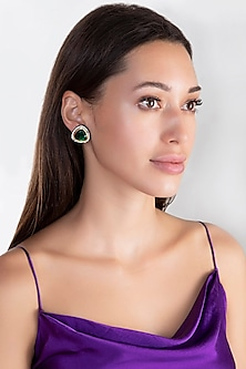 Black Rhodium Finish Faux Diamond & Green Stone Earrings by Aster