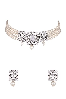 Black Rhodium Finish Faux Diamond & Pearl Choker Necklace Set by Aster