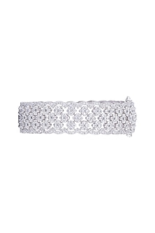 White Finish Faux Diamonds Openable Bangle by Aster