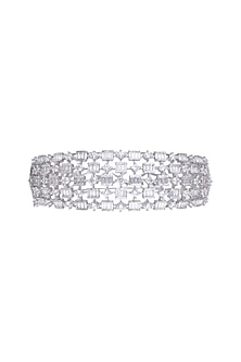 White Finish Faux Diamond Openable Kada Bracelet by Aster