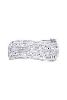 White Finish Diamond Openable Kada Bracelet by Aster