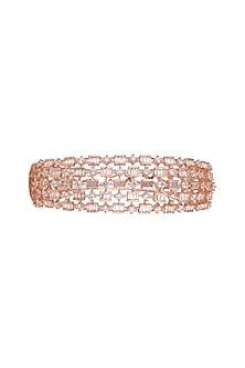 Rose Gold Finish Diamond Openable Kada Bracelet by Aster