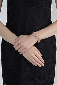 Rose Gold Finish Diamond Openable Kada Bracelet by Aster