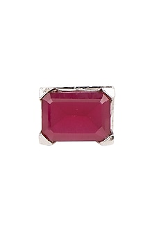 White Finish Red Stone Ring by Aster-POPULAR PRODUCTS AT STORE