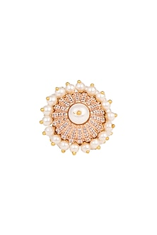 Gold Finish Pearl Ring by Aster-POPULAR PRODUCTS AT STORE