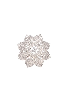 White Finish Faux Diamond Ring by Aster-POPULAR PRODUCTS AT STORE