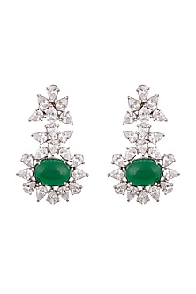 White Finish Green Stone Earrings by Aster-POPULAR PRODUCTS AT STORE