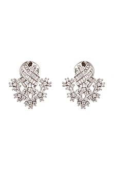 White Finish Diamond Earrings by Aster-POPULAR PRODUCTS AT STORE