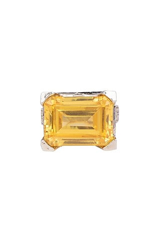 White Finish Yellow Stone Ring by Aster