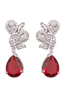 White Finish Red Stone Earrings by Aster-POPULAR PRODUCTS AT STORE
