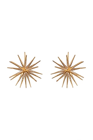 Gold Finish Diamond Earrings by Aster
