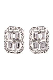 White Finish Daimond Stud Earrings by Aster-POPULAR PRODUCTS AT STORE