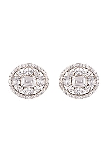 White Finish Stud Earrings by Aster-POPULAR PRODUCTS AT STORE
