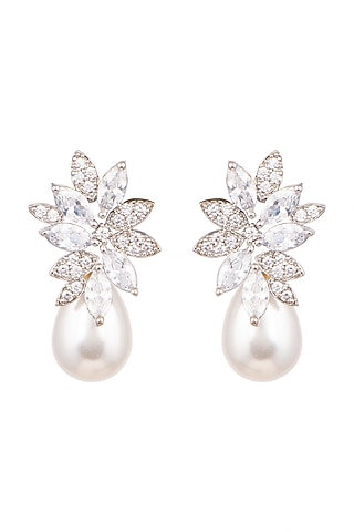 White Finish Pearl & Diamond Earrings by Aster