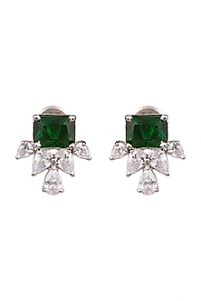 White Finish Earrings With Green Stones by Aster-POPULAR PRODUCTS AT STORE