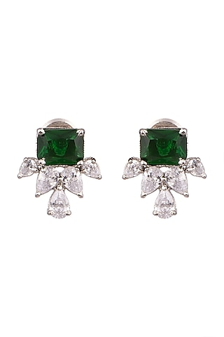 White Finish Earrings With Green Stones by Aster