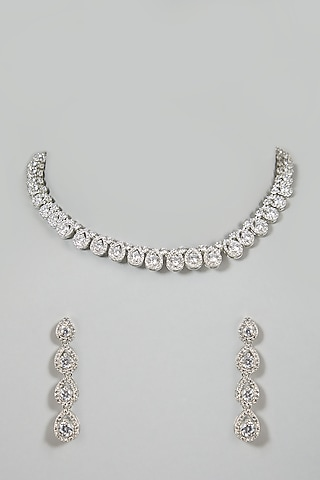 White Finish Necklace Set With Diamonds by Aster