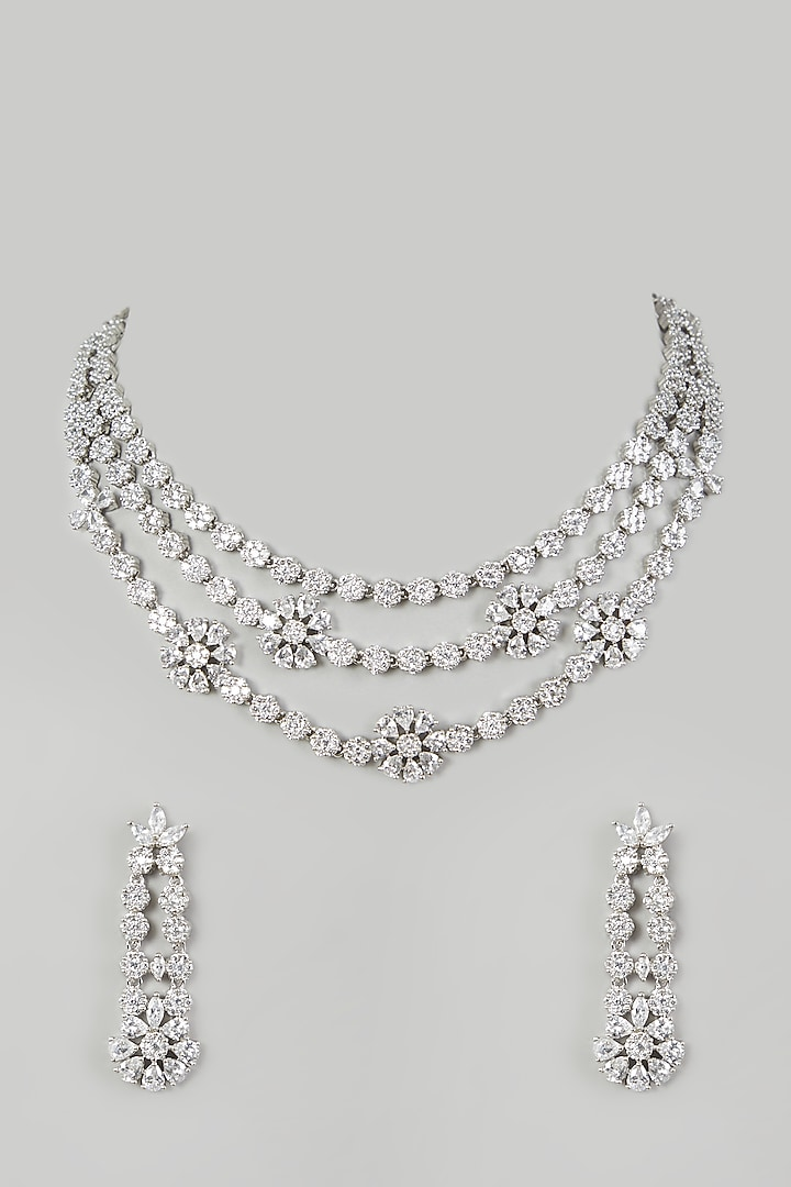 White Finish Necklace Set Having Faux Diamonds by Aster