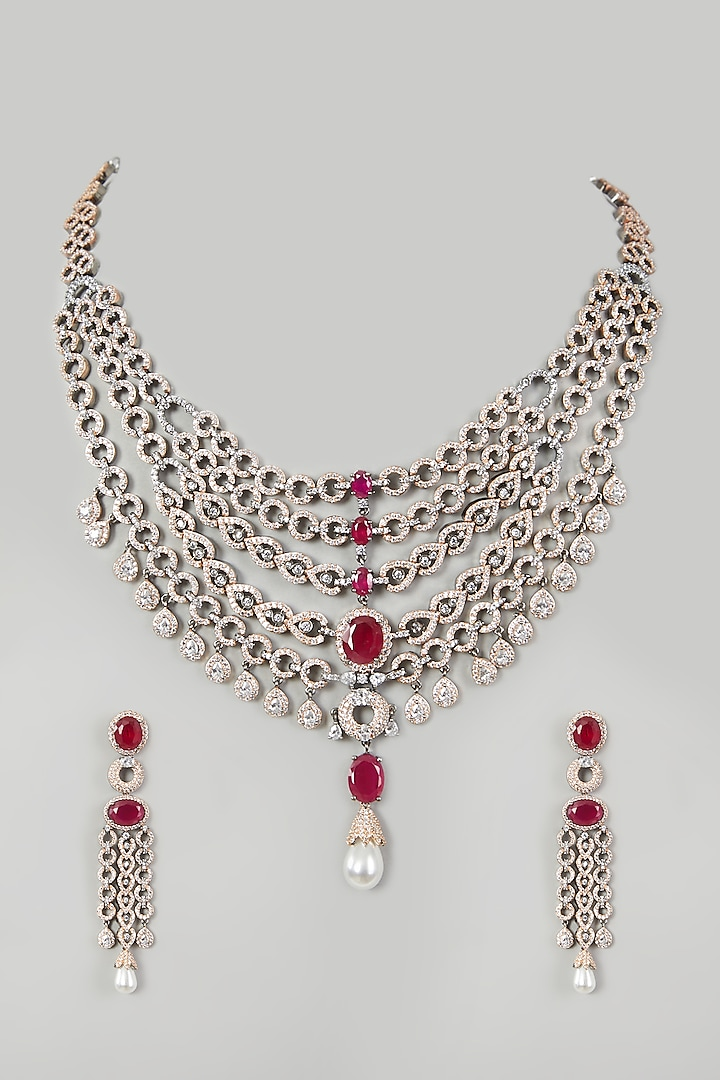 Two Tone Finish Faux Diamond Necklace Set by Aster