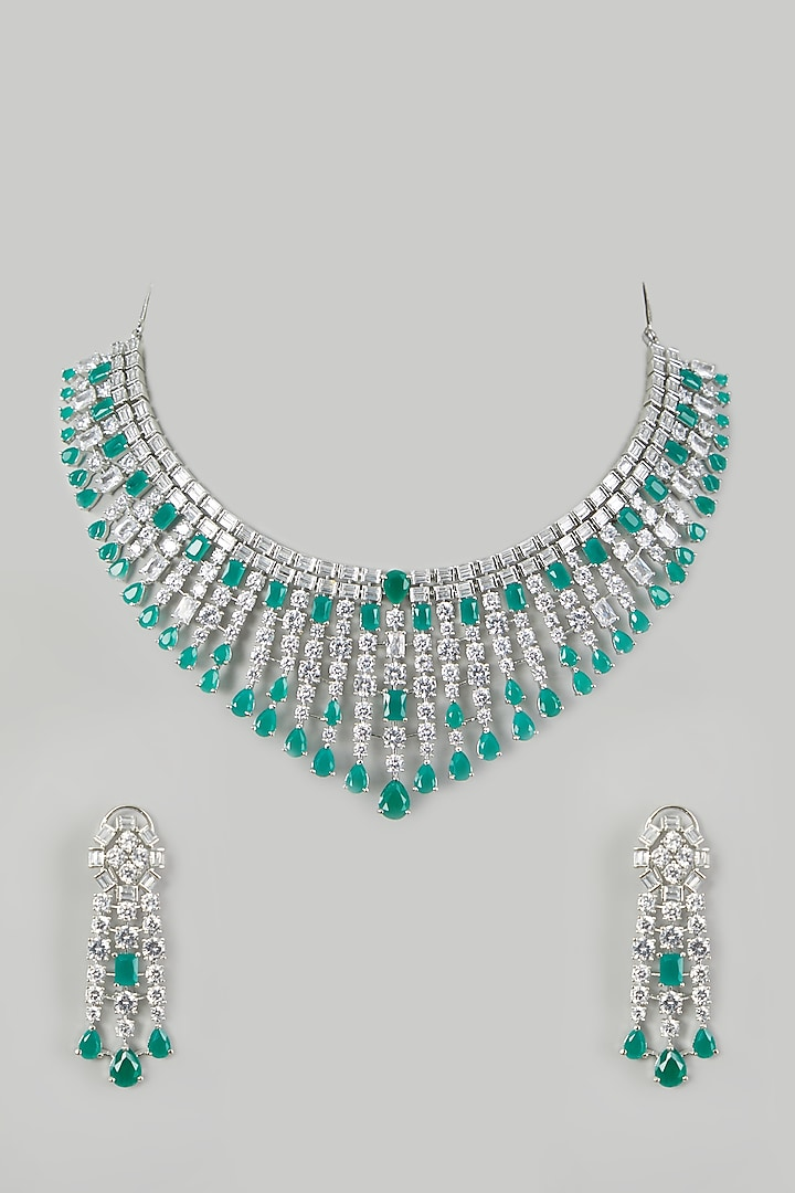 White Finish Green Necklace Set by Aster
