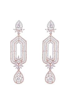 Rose Gold Finish Earrings With Faux Diamonds by Aster