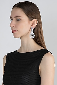 White Finish Earrings With Faux Diamonds by Aster