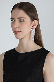 Rose Gold Finish Faux Diamond Dangler Earrings by Aster