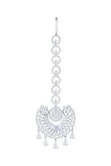 White Finish Diamond Maang Tikka by Aster