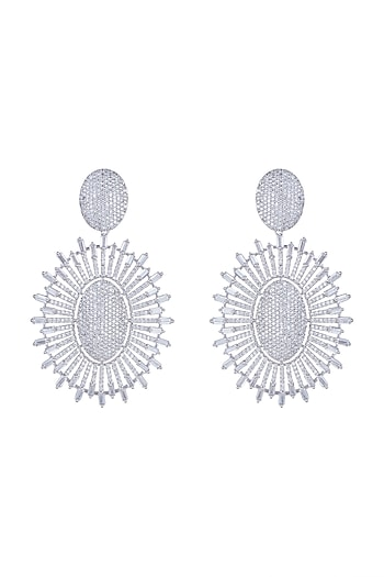 White Finish Faux Diamond Earrings by Aster