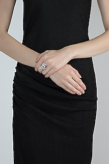 White Finish Floral Faux Diamond Ring by Aster