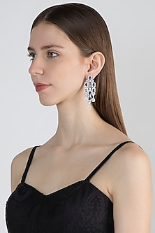 White Finish Faux Diamond Earrings With Blue Stones by Aster