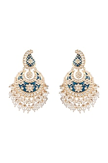 White Finish Meenakari Earrings With Faux Diamonds by Aster