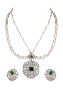 Gold Finish Pearl & Diamond Necklace Set by Aster