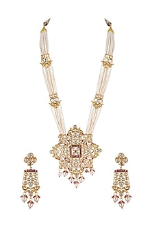 Gold Finish Pearl & Kundan Necklace Set by Aster