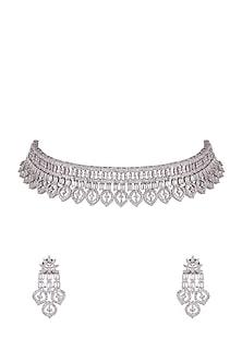 White Finish Diamond Choker Necklace by Aster