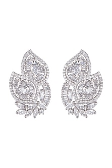 White Finish Diamond Stud Earrings by Aster