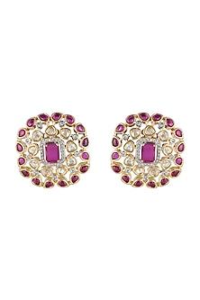 Gold Finish Kundan Stud Earrings by Aster