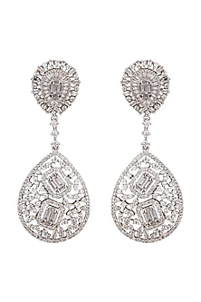 White Finish Faux Diamonds Earrings by Aster-POPULAR PRODUCTS AT STORE