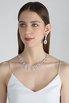 Rose Gold Finish Diamond Necklace Set by Aster