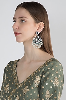 Black Finish Antique Style Earrings by Aster