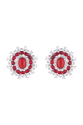 White Finish Stud Earrings With Red Stone by Aster