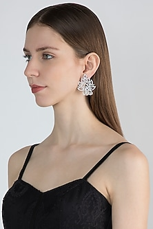 White Finish Earrings With Diamonds by Aster