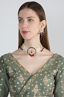 Gold Plated Enamelled Peacock Necklace Set by Aster