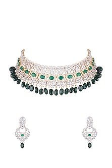 Gold Finish Faux Diamond Choker Necklace Set by Aster-JEWELLERY ON DISCOUNT