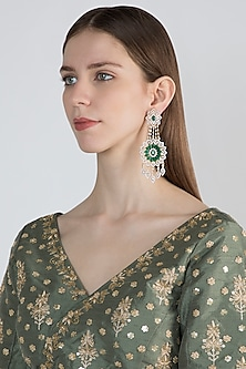 White Finish Green Stone Long Earrings by Aster