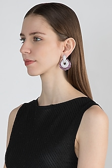 White Finish Earrings With Dark Pink Stones by Aster