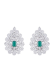 White Finish Earring Tops With Green Stones by Aster